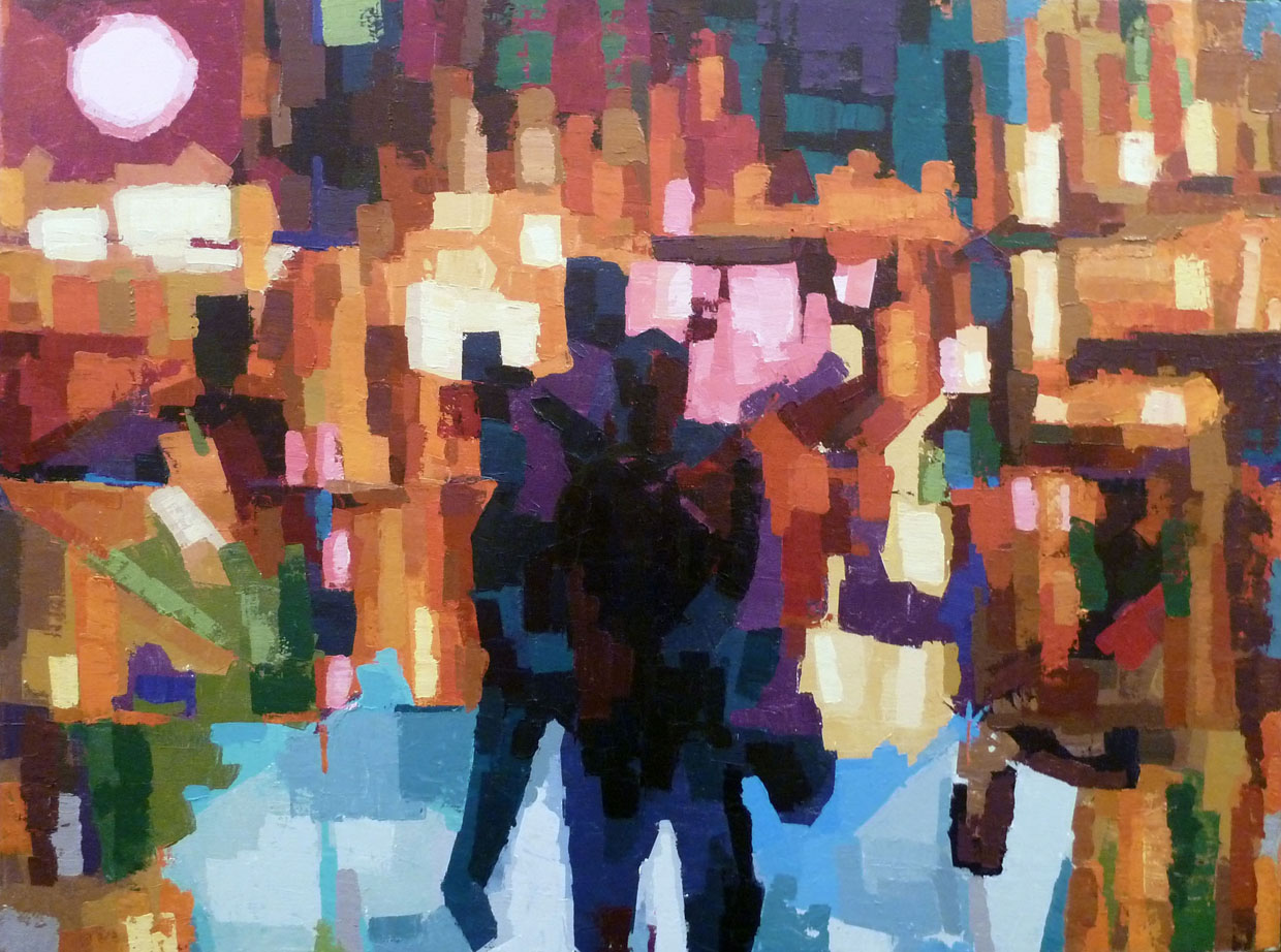 "Across the Plaza, acrylic on canvas, 30"" x 40"", 2011"